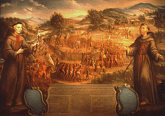 Battle of the Twin Villages - The destruction of the San Saba mission is depicted in the earliest extant painting of an event in Texas history.