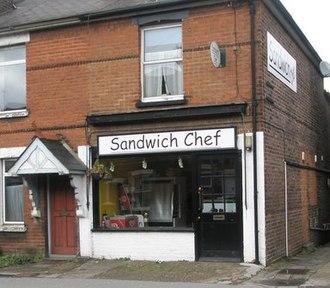 Comic Sans - A sandwich shop with a sign in Comic Sans