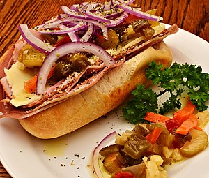 Giardiniera - A sandwich accompanied with giardiniera