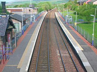 Sanquhar - The re-opened Sanquhar station from the roadbridge looking towards Kirkconnel. 2007.