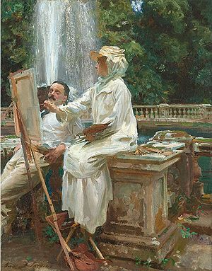 Wilfrid de Glehn - Wilfrid and Jane de Glehn, depicted by John Singer Sargent at the Villa Torlonia, Frascati.
