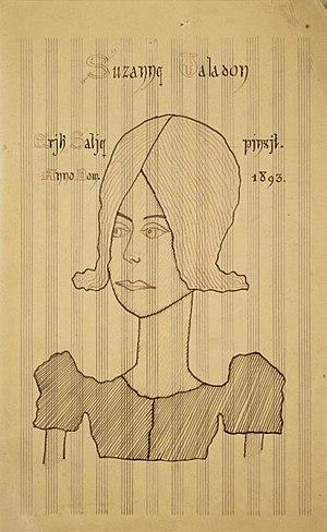 Danses gothiques - Suzanne Valadon, portrait on music paper by Satie (1893)