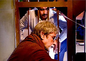 Satyagraha (film) - Ajay Devgn (Top) and Amitabh Bachchan (Bottom) during the shoot.