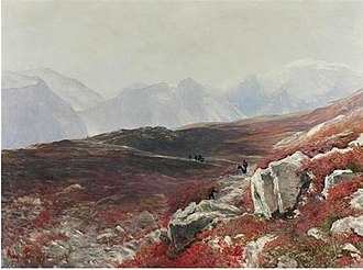 August Schaeffer - Blooming Alpenroses with Hikers