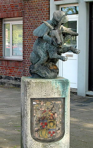 Buckriders - Statue of a goat rider on the marketplace in Schaesberg.
