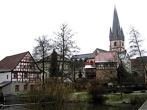 Baunach - Schrepfersmühle (mill) and parish church with charnel house, seen from the river Baunach