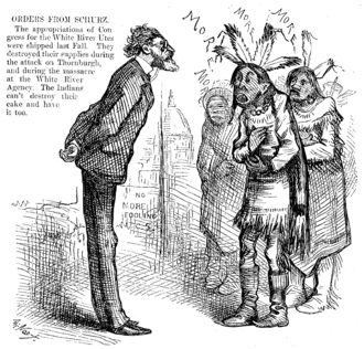 """White River War - Carl Schurz stands confronting a small band of Utes who are collectively saying """"More."""" A note in the upper left-hand corner says """"ORDERS FROM SCHURZ."""" Illustration is dated to February 28, 1880."""