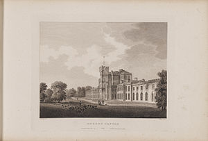 Gordon Castle - Engraving of the castle by James Fittler in Scotia Depicta published 1804