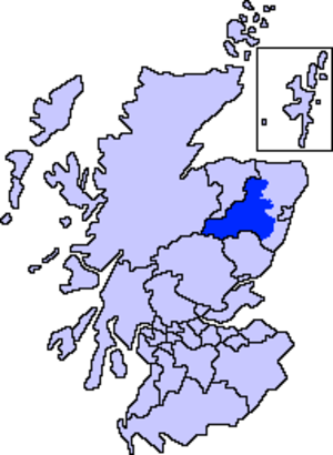 Marr - Map of Scotland showing the present-day committee area of Marr