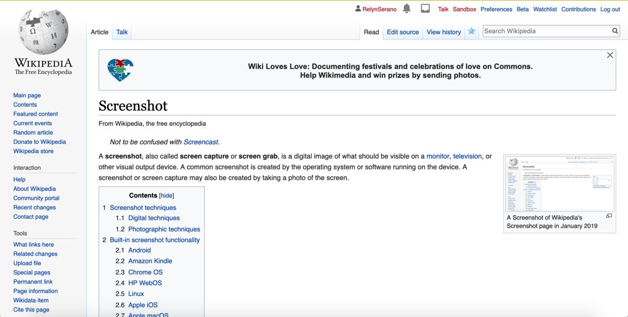File:Screenshot of Wikipedia's Screenshot page Feb 2019 png
