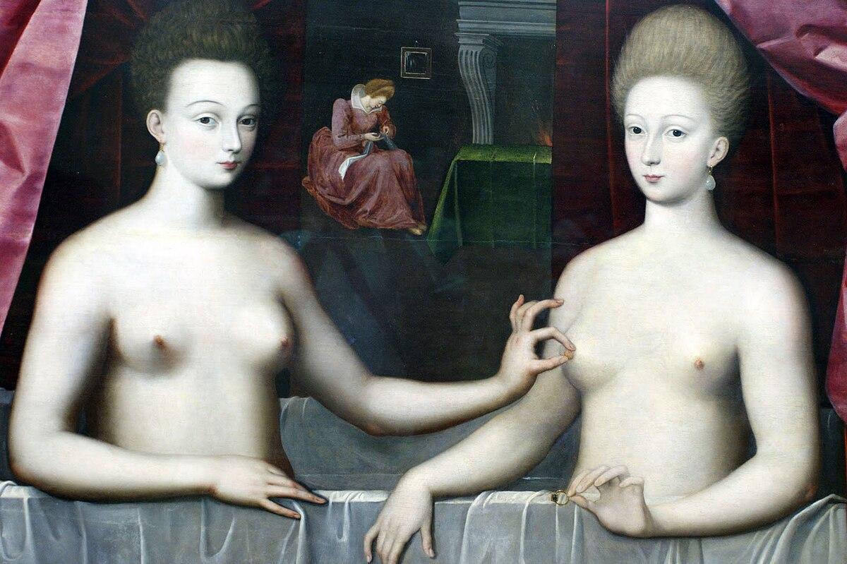 Scuola di fontainebleau, presunti ritratti di gabrielle d'estrées sua sorella la duchessa di villars, 1594 ca. 04.jpg