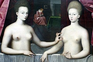 School of Fontainebleau - Portrait of Gabrielle d'Estrées and Duchess of Villars, School of Fontainebleau, c.1594