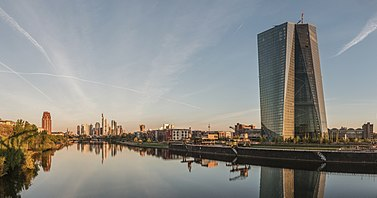 Seat of the European Central Bank and Frankfurt Skyline at dawn 20150422 1.jpg