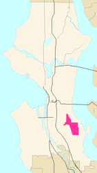 Map of Columbia City's location in Seattle