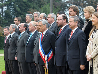 Sebastián Piñera - Sebastián Piñera and his Council of Ministers in Chile's Palacio de Cerro Castillo.
