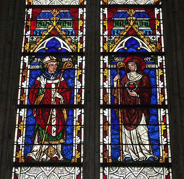 De hellige søsknene Chrodegang og Opportuna, glassmaleri i katedralen i Séez