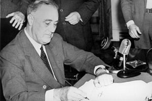 76th United States Congress - President Roosevelt signing the Selective Training and Service Act of 1940, September 16, 1940.