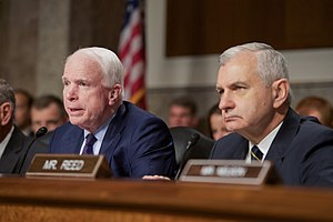 Joint Comprehensive Plan of Action - Senators John McCain (Republican of Arizona), the committee chair, and Jack Reed (Democrat of Rhode Island), the committee ranking member, at a hearing of the Senate Armed Services Committee on the JCPOA, 29 July 2015.