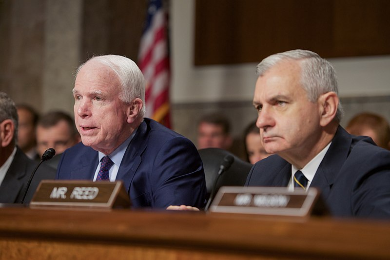 Senator John McCain - the Chairman of the Senate Armed Services Committee %E2%80%94 Senator Jack Reed - the Committee%27s Ranking Democratic Member.jpg