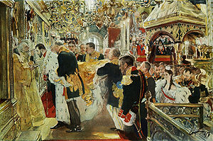 Portrait by Valentin Serov of the anointing of Tsar Nicholas II and the Empress Alexandra Fyodorovna at their coronation. 1897