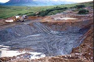 Settling basin - Settling pond under construction, Blue Ribbon Mine, Alaska