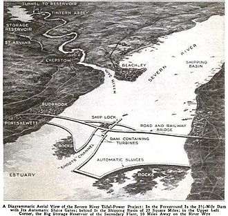 Severn Estuary - Diagram of a plan to harness tidal power on the Severn River circa 1921. Caption from Popular Mechanics Magazine 1921