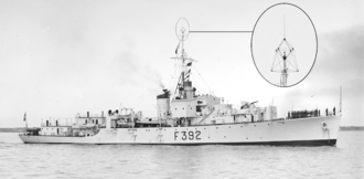 High-frequency direction finding - Huff-duff aerial (enlarged) on a Pakistani frigate