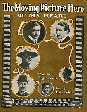 "1916 in music - Cover of sheet music for ""The Moving Picture Hero Of My Heart"""