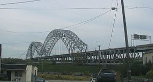 Sherman Minton Bridge - View of the bridge from the Main Street in New Albany