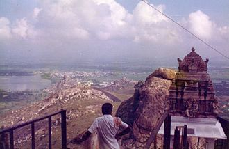 Sholinghur - Distant view of the temple town from the Lakshmi Narasimha Swamy temple