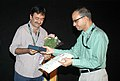 Shri Rajkumar Hirani, Director of the film '3 idiots' being felicitated at the screening of the film, during the 41st International Film Festival (IFFI-2010), at Panaji, Goa on November 24, 2010.jpg