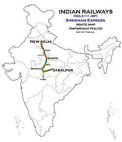 Shridham Express (New Delhi - Jabalpur) Route map.jpg