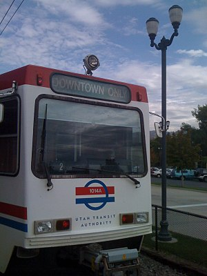A Siemens LRV in service with UTA TRAX. The ba...