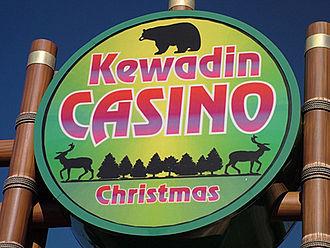 Kewadin Casinos - Road entrance sign for Kewadin Casino–Christmas