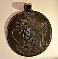 Silver pendant, devotee before Ishtar, worship scene. 9th-7th century BCE. From Sam'al, Turkey. Pergamon Museum.jpg