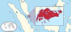 Location of  Singapore  (red)