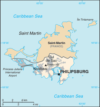 Sint Maarten is located on the southern half of the island of Saint Martin.