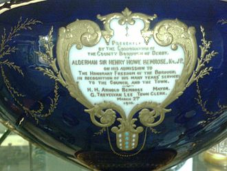 Henry Howe Bemrose - reverse of commemorative cup in Derby Museum records his freedom of the borough in 1910.