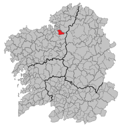 Location of Irixoa within Galicia