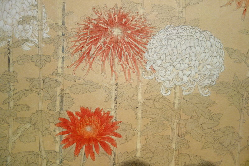 File:Sketch of Chrysanthemums by Bakusen Tsuchida, detail, c. 1933, pencil and color on paper - National Museum of Modern Art, Tokyo - DSC06719.JPG