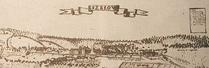 Shklow - An 18th century drawing of Škłoŭ (Polish, Szkłów)