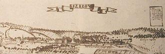 Shklow - An 18th century drawing of Škłoŭ (Polish, Szkłów)