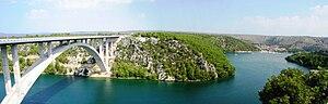 Adriatic–Ionian motorway - Krka River Bridge carrying the A1 motorway south of Skradin, in immediate vicinity of Krka National Park