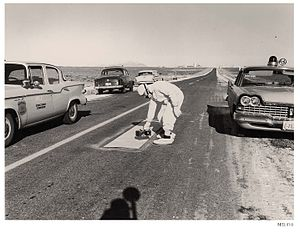 SL-1 - Checking for radioactive contamination on nearby Highway 20
