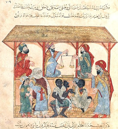 13th-century slave market in Yemen. Slaves Zadib Yemen 13th century BNF Paris.jpg