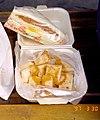 Sliced pan-fried turnip cake with a sandwich as breakfast in Taiwan 19970330.jpg