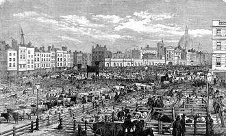 Smithfield, London - Old Smithfield in 1855, an outdoor market