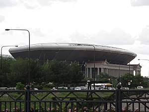 Soldier Field - Soldier Field as seen from Lake Shore Drive. The modern grandstands, added in 2003, extend well above the original Neoclassical columns.