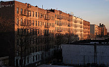 Photograph of tenement buildings in the Bronx