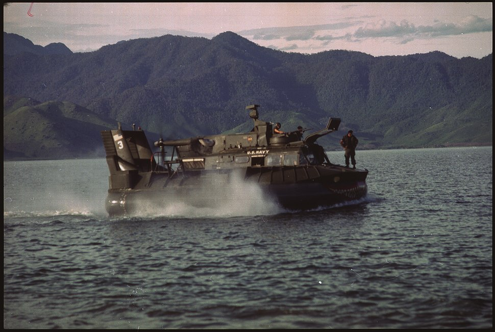 South Vietnam....A U.S. Navy patrol air cushion vehicle (PACV) glides over the waters of Cau Hai Bay near Hue. - NARA - 558515